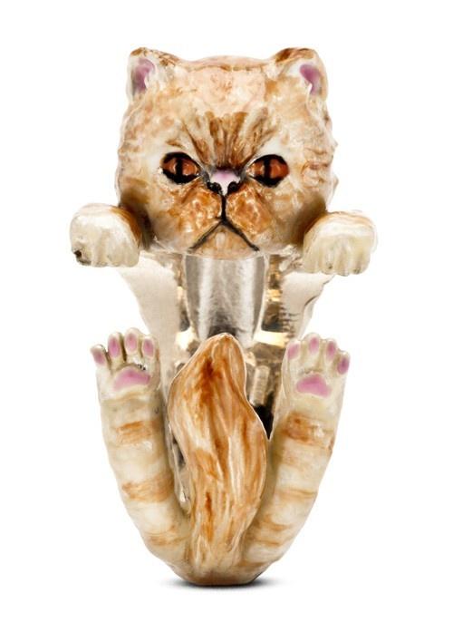 Golden Persian Cat Enamelled Sterling Silver Hug Ring