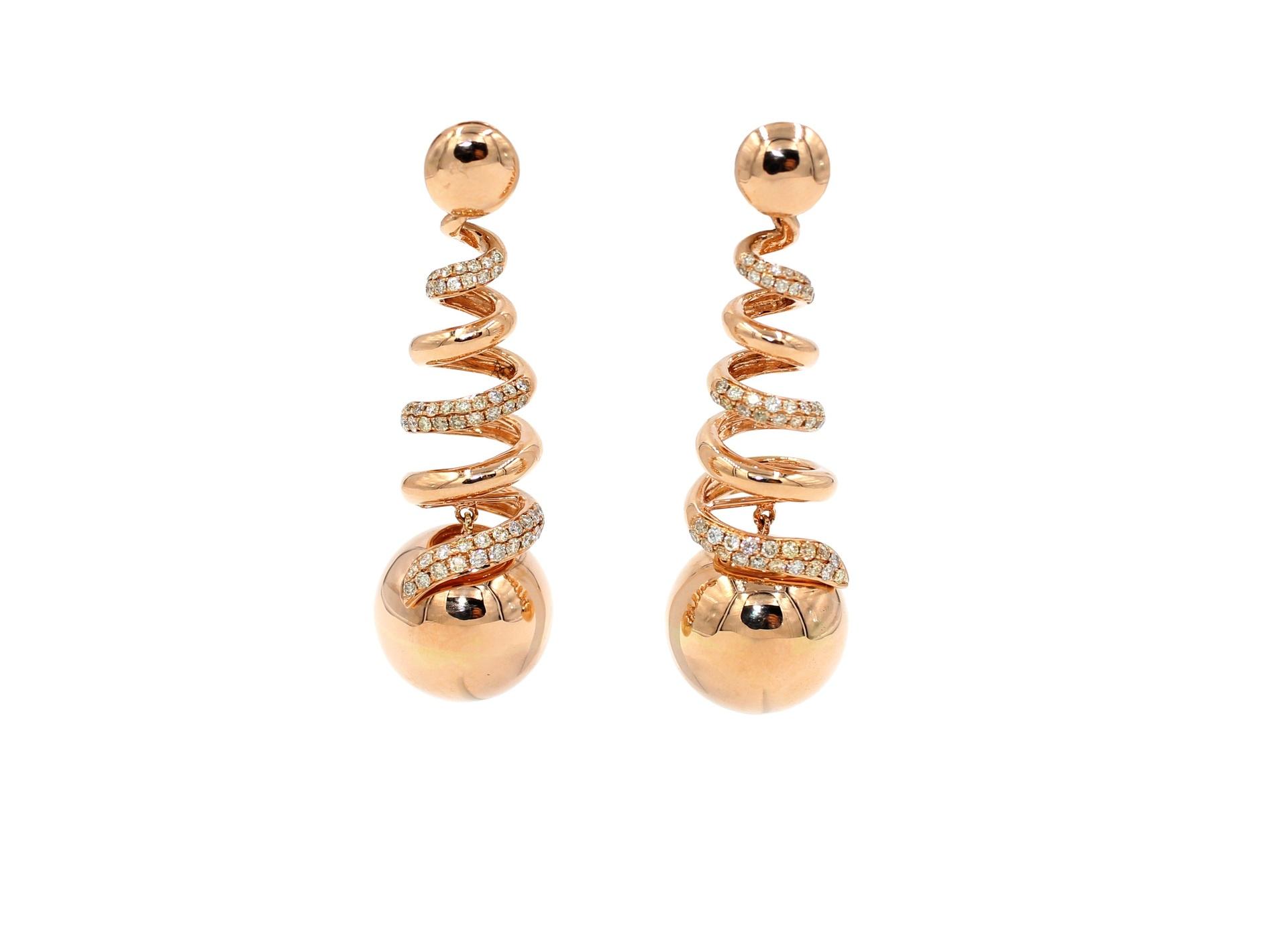 Spiraling Golden Globe Sphere Diamond Earrings