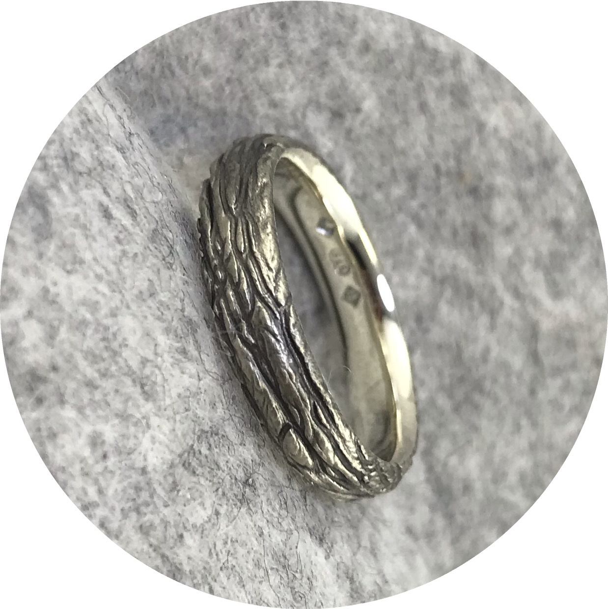 Emily Becher - 'Cedar Ring' 9ct white gold, black ruthenium plate