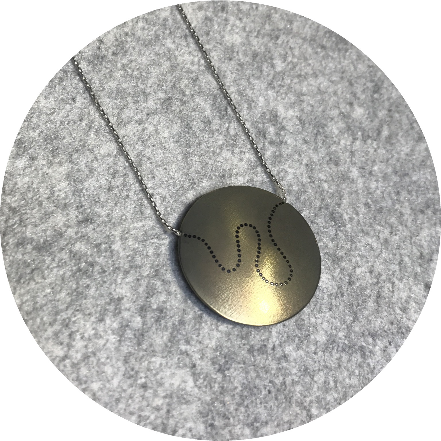 Sarah Murphy - 'Meander' Necklace in Gold Anodised Titanium and Sterling Silver Chain