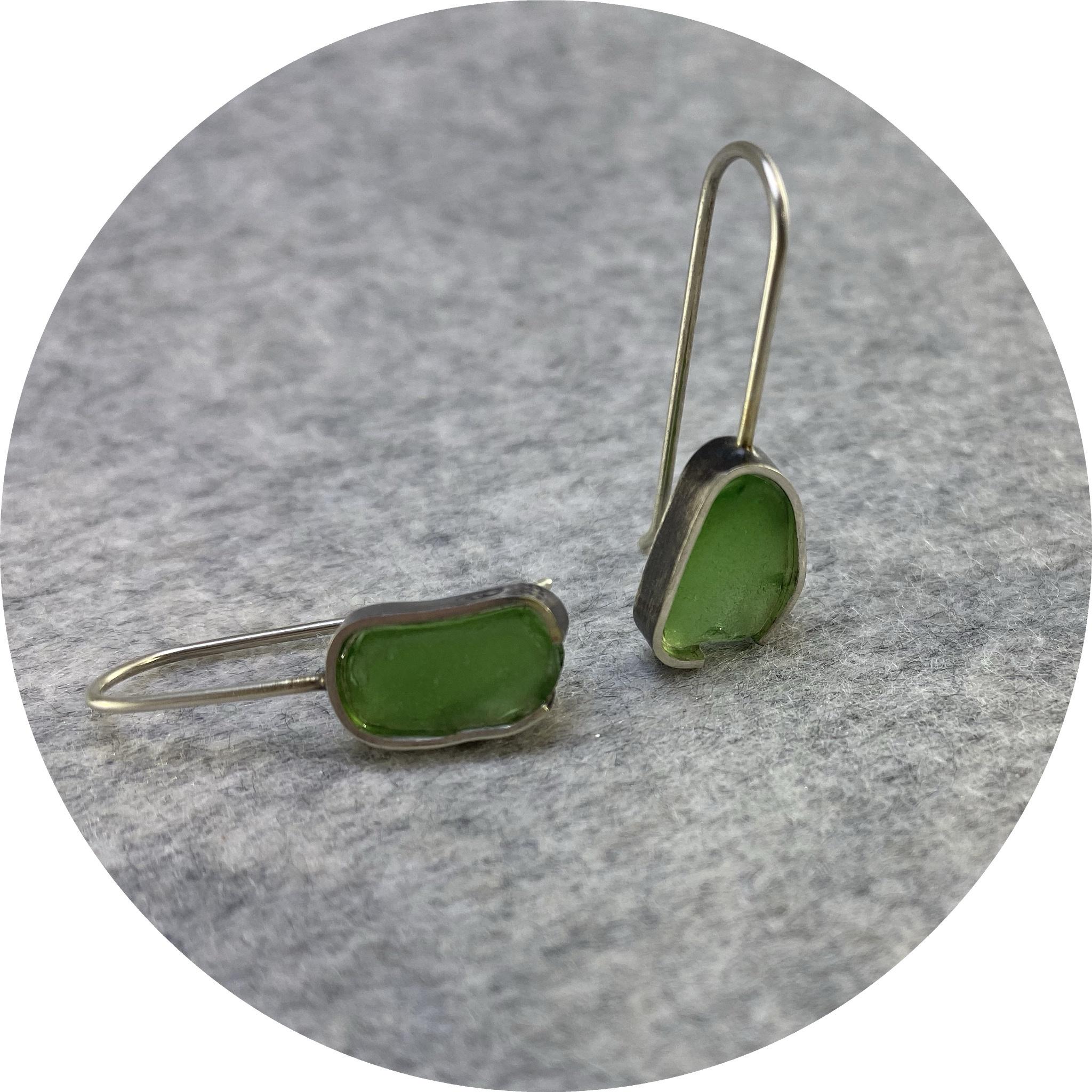 Susan Ewington - 'Green Beach Glass Earrings', 925 silver, glass