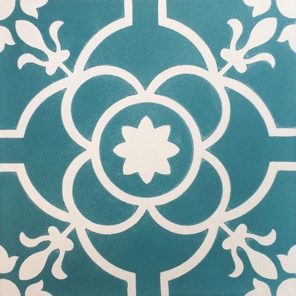 Handmade Tile | Turquoise Flowers Mediterranean Ornaments