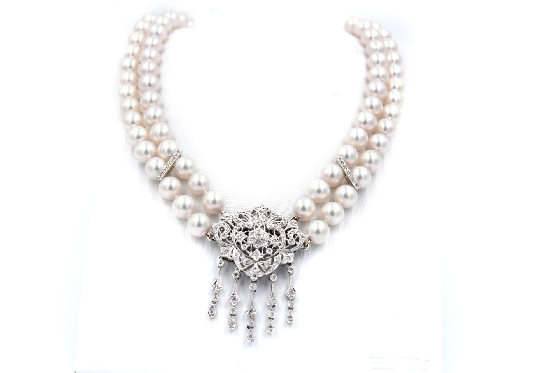 2 Row Okoya Pearl & Diamond Necklace Broach Combination