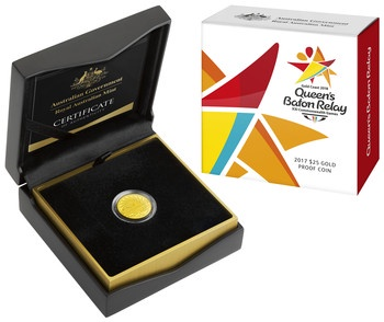 2017 $25 Gold Proof Coin - Queens Baton Relay Image