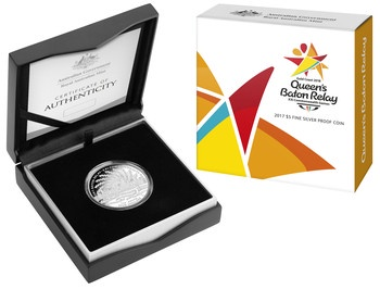 2017 $5 Fine Silver Proof Coin - Queens Baton Relay Image